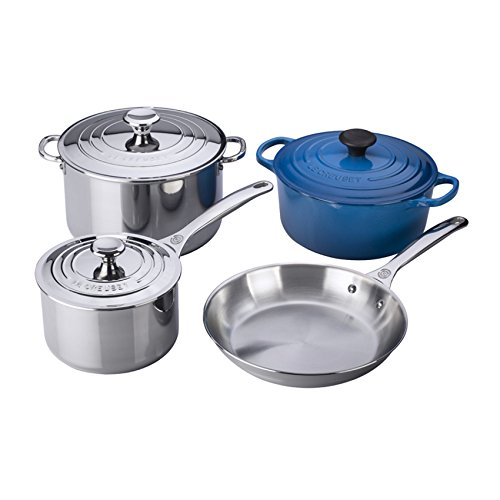 Le Creuset SS14SS7-59 7-Piece Stainless Steel and Enameled Cast Iron Cookware Set, Marseille