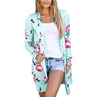 ECOWISH Womens Boho Irregular Long Sleeve Wrap Kimono Cardigans Casual Coverup Coat Tops Outwear