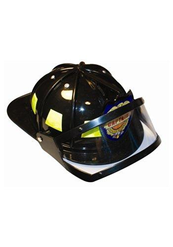 Jacobson Hat Company Men's Plastic Fireman Helmet with Visor, Black,