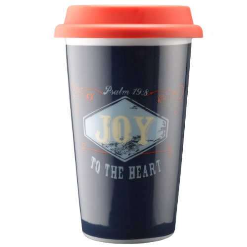 Retro Blessings''Joy'' Ceramic Travel Mug - Psalm 19:8 by Christian Art Gifts