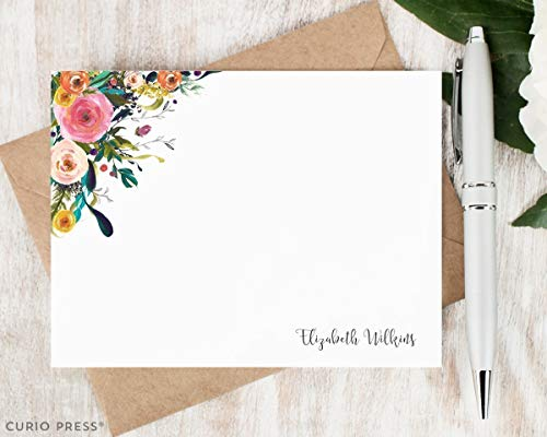 MULTI FLOWER II - Personalized Flat Floral Stationery/Stationary Set