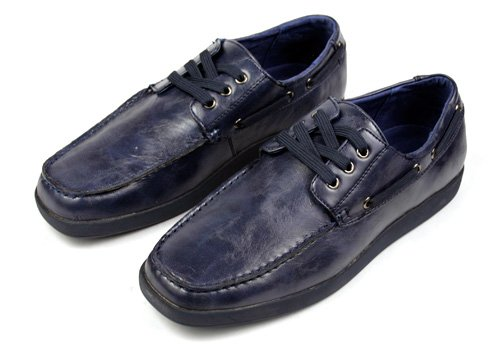Bravo Men Casual Driving Boat Shoes Styled in Italy Navy
