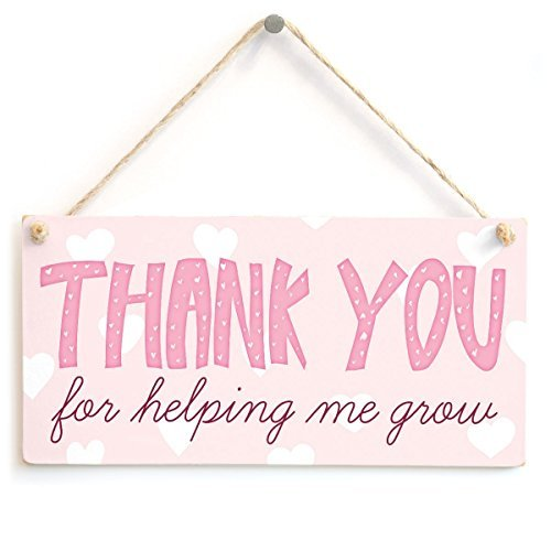 TATTYAKOUSHI 5X10 매달려 나무 표지판 우리가 성장을 도와 주셔서 감사합니다 - 사랑스러운 감사 당신은 CARER 또는 감사합니다 교사 선물 플라크