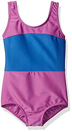 Danskin Big Girls' Gymnastics Leotard, Blue Stripe, Intermediate (6X-7)