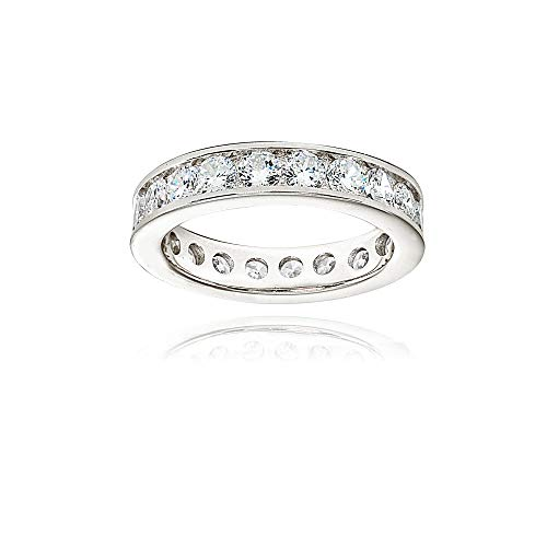 Sterling Silver Cubic Zirconia Round 3mm Channel Set Polished Eternity Band Ring, Size 5 ()