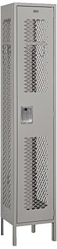 Salsbury Industries 81165GY-U Single Tier 15-Inch Wide 6-Feet High 15-Inch Deep Unassembled Extra Wide Vented Metal Locker, Gray -