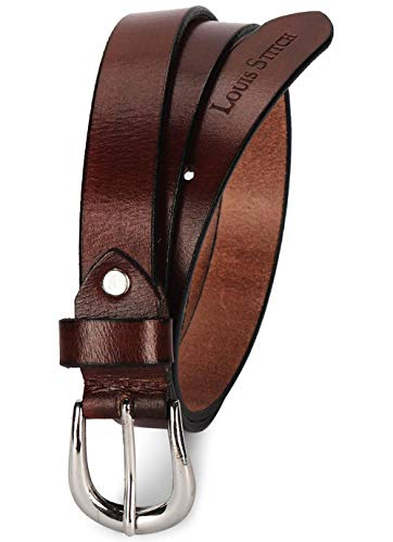 LOUIS STITCH Women's Cocoa Brown Belt Italian Raw Leather Premium Formal Casual Slim Belts For Ladies With Chrome Buckle 1 Inch (24mm) (CALDTN)