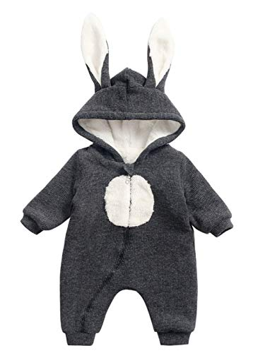 Happy Cherry Infant Winter Romper Bodysuit Long Sleeve Zipper Closure Velvet Jumpsuit Warm Rabbit Hooded One-Pieces Outfit Grey 0-6m ()