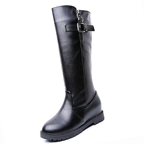 HSXZ Zapatos de mujer moda otoño invierno PU Confort botas botas Nulo / Round Toe botas / Mid-Calf for casual marrón negra Black