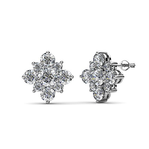 ovely White Gold Stud Earrings, 18k Gold Plated Studs with Swarovski Crystal Cluster, Silver Stud Earring Set with a Cluster of Round Cut Crystals, Wedding Jewelry, MSRP - $124 ()
