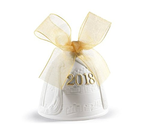 Lladro Annual (Lladro Christmas Bell 2018 Porcelain 01018438 Annual Ornament 8438 Yellow Ribbon Hand Made in Spain)