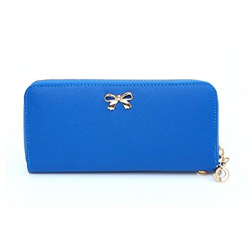 fashion-women-zipper-bowknot-purse-solid-wearable-wallet-purse-handbag-darkblue