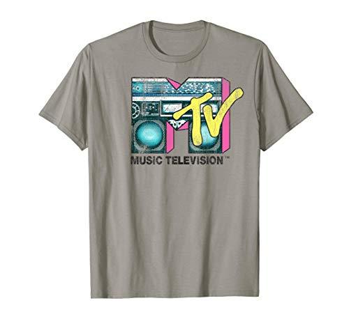 Mtv Boombox - MTV Logo Distressed Boombox Graphic T-Shirt