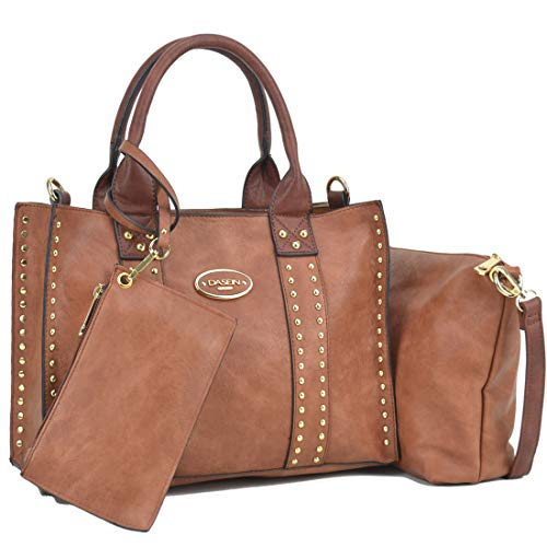 Dasein Designer Tote Purse Satchel Handbag Faux Leather Shoulder Bag Top Handle Bag (0620w 3pcs- Brown/Coffee Handle)