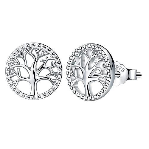 Lydreewam árbol de la Vida Pendientes para Mujer Plata de ley 925 Regalo dia de la Madre, Diámetro 10mm a buen precio