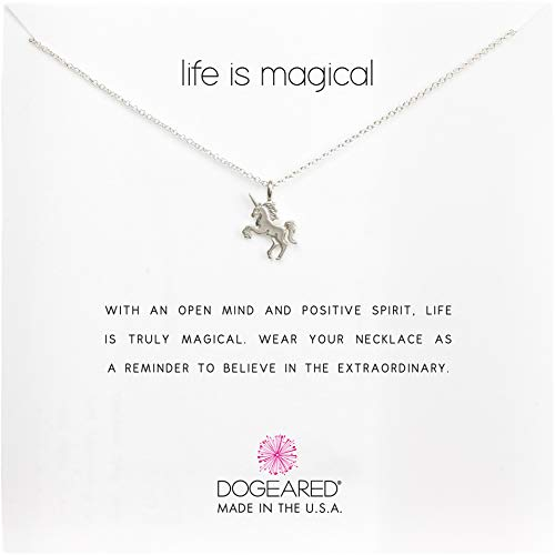 Dogeared Women's Life is Magical Unicorn Reminder Necklace Sterling Silver One Size