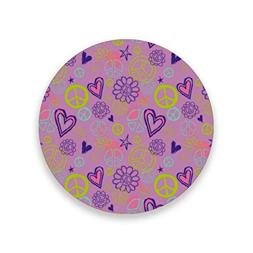 (YYZZH Peace Sign Heart Flower On Pink Coasters for Drinks Set of 1, 2, 4 Round Cup Mat Pad Present Housewarming Birthday or Holiday Party)