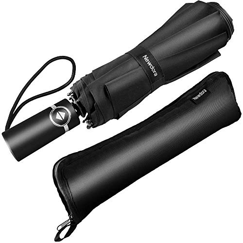 Newdora Windproof Travel Folding Umbrella Golf Umbrella Auto Open Close Button and Upgraded Comfort Handle, Lightweight 10 Ribs Automatic Windproof Canopy Compact with Light Reflective-Gift Waterproof