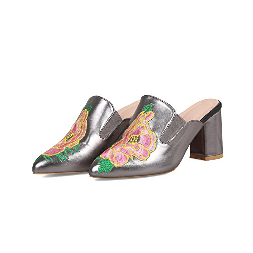 Heels Grey Qin Sandals Silver amp;X Flop Block Women's Flip RwqI4BS