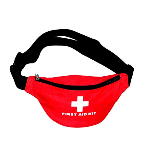 Jipemtra First Aid Fanny Pack First Aid Bag Small Travel Rescue Bag Empty Pouch First Responder Storage Compact Survival Medicine Bag Pocket Container for Car Home Office Sport Gym (Red Fanny Pack)