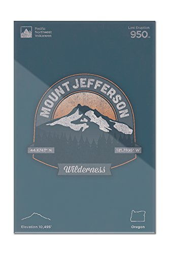 (Willamette National Forest, Oregon - Mount Jefferson Wilderness - Pacific Northwest Volcanoes - Vector Badge (8x12 Acrylic Wall Art Gallery Quality))