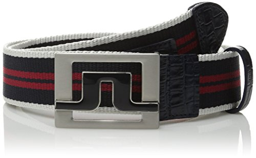 J.Lindeberg Men's Slater 40 Striped Webbing Belt, Navy/Purple, 95