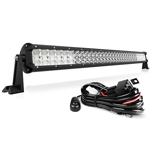 "32"" LED Light Bar Tri-Row Straight 29700LM 297W with Wiring Harness, Spot Flood Combo Beam Off Road Driving Lights for Trucks Jeep Wrangler UTV Boats Fishing Hunting, 2 Year Warranty"