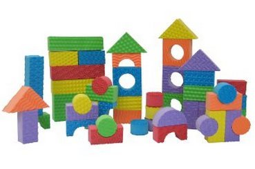 Toy / Play Set of 30 - Edushape Textured Brightly Colored Foam Building Blocks, shape, foam, kids Game / Kid / Child