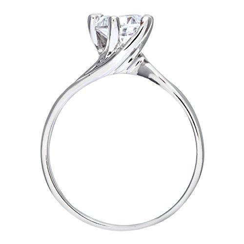 Bague de Fiançailles - Femme - Or blanc (9 carats) 2.82 Gr - Oxyde de zirconium