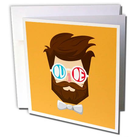 3dRose The Artism - People, Beard, Hipster - Dude - a dude with beard and mustache wearing goggles and bow tie - 6 Greeting Cards with envelopes (gc_280189_1) ()