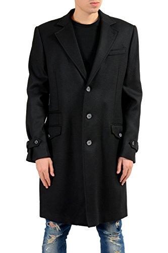 Just Cavalli Men's Wool Black Three Button Coat US XL IT - Cavalli Men Just For