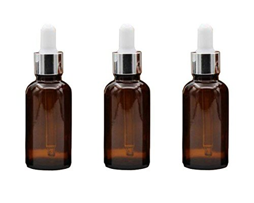 Ericotry 3PCS 15ml (1/2 oz) Glass Bottles With Glass Eye Droppers Empty Refillable Essential Oil Perfume Aromatherapy Vial Pot Liquid Containers Jars with White Ruuber Cap and Silver Circle (Brown)