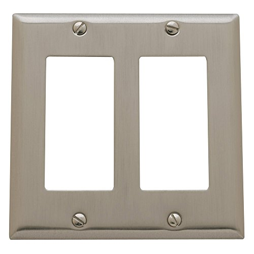 Baldwin Estate 4741.150.CD Square Beveled Edge Double GFCI Wall Plate in Satin Nickel, 4.5