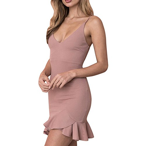 Vestidos Mujer Verano 2018 Vestido Corto Fiesta Mujer Elegante Vestido de Playa Casual Mini Vestir Ropa Sexy Ruffle Irregular Vestidos de Camisa Túnica para Mujeres Rosa Oscuro