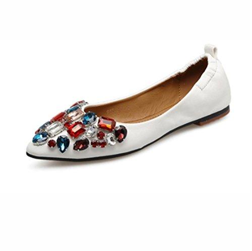 QPYC Mujeres Zapatos planos de las señoras era delgada punta de la boca baja Single Shoes Rhinestones Huevo Rollos Shose white
