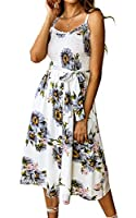 Angashion Women's Dresses - Summer Boho Floral Spaghetti Strap Button Down Belt Swing A line Midi Dress with Pockets