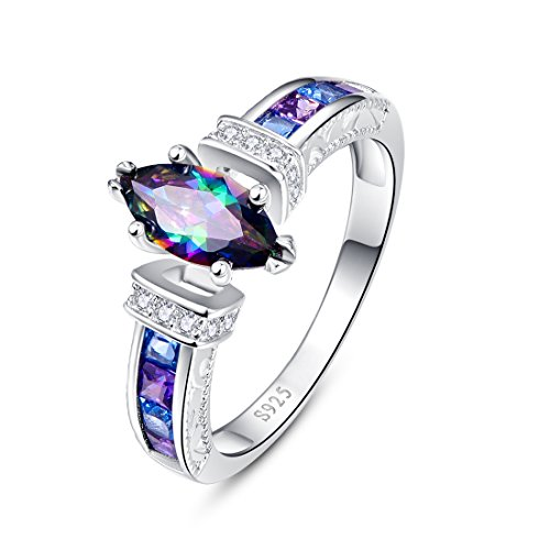 (Merthus 925 Sterling Silver Created Mystic Rainbow Topaz Ring for Women)