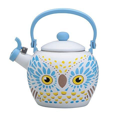 Gourmet Art Owl Enamel-on-Steel Whistling Kettle