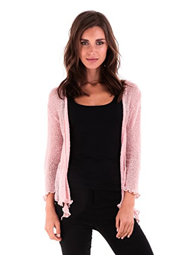 Shu-Shi Womens Sheer Shrug Tie Top Cardigan Lightweight Knit One Size 2-12 (Dusty Pink)