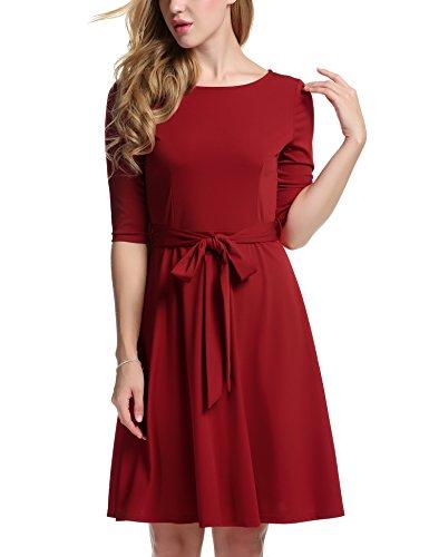 Meaneor Damen Skaterkleid Basic Kleid 3/46 Ärmel Tailliengürtel O-Ausschnitt Stretch