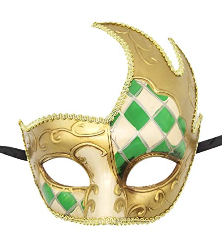 Coolwife Men's Masquerade Mask Vintage Venetian Checkered Musical Party Mardi Gras Mask (Y Green)