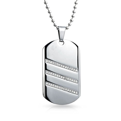 Bling Jewelry Geometric Engravable Mens CZ Dog Tag Pendant Necklace for Men Silver Tone Stainless Steel with Chain 24 Inch