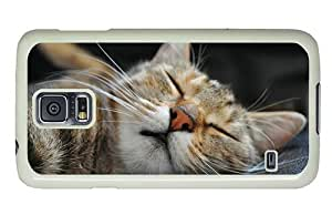 Hipster luxury Samsung Galaxy S5 Case Sleeping Cat PC White for Samsung S5