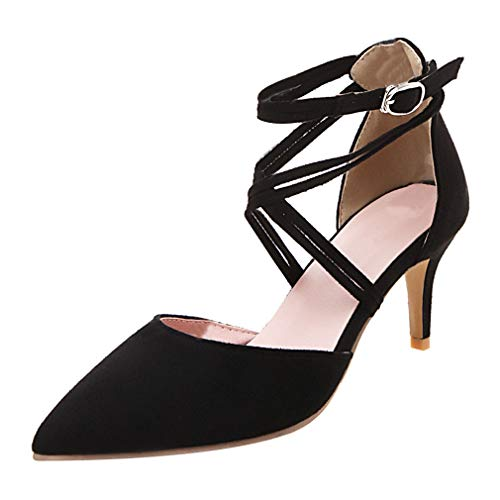 - KIKIVA Women Criss Cross Pumps Kitten Heel Pointed Toe Ankle Strap Court Shoes,9 M US,Black