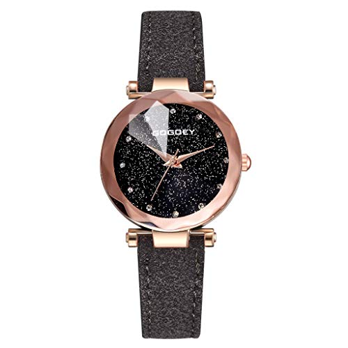 LUCAMORE Watch Womens Quartz Lady Watch Wrist Watch Creative Starlight Dial Birthday Gift with Black Leather Band ()