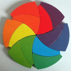 Wooden Trigeod Color Wheel Puzzle & Manipulative Set (12 pieces)