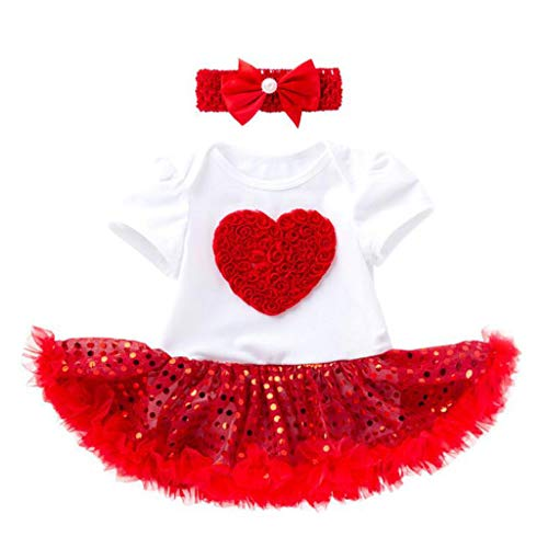 LiLiMeng 2 PCS Toddler Baby Girls Short Sleeve Paillette Heart Dress Outfits Set Red