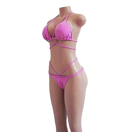 Vandot Mujeres Niñas Sólido Color Triángulo Bikini Brasileño Atractivo Vendaje Cabestro Recortó Bikini G-string Tanga Vacaciones Traje de Baño Ropa de Playa Swimwear, Amarillo, Talla Grande S-XL Color 06