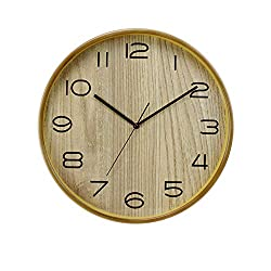 Sugoishop Silent Solid Wood Original Wooden Wall Clock Nordic Wall Clock Japanese Creative Living Room Clock