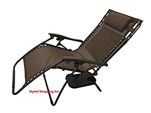 Extra Wide Oversized Brown Zero Gravity Chair With Canopy + Tray